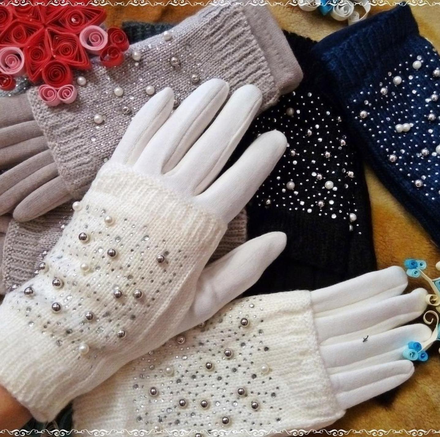Украсить перчатки бусинками